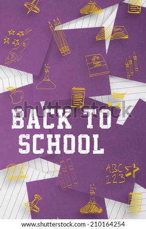 Back to school message against purple paper strewn over notepad - stock photo