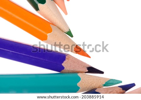back to school  multicolored pencils isolated on white background