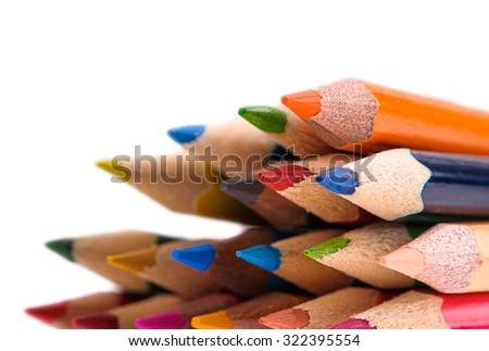 back to school multicolored pencils isolated on white background - stock photo