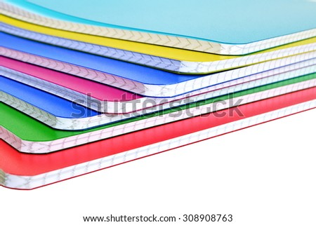 Back to school: Notebooks isolated on white background