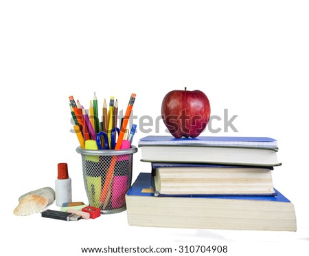 back to school, pencils colors, shell, usb books - background - space for your text