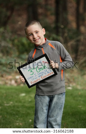 Back to school picture. First day of Third grade - stock photo
