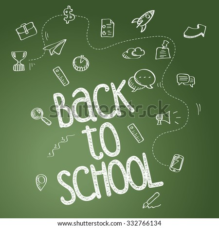Back to school poster with doodles - stock photo