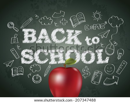 Back to school poster with text on chalkboard and apple - stock photo