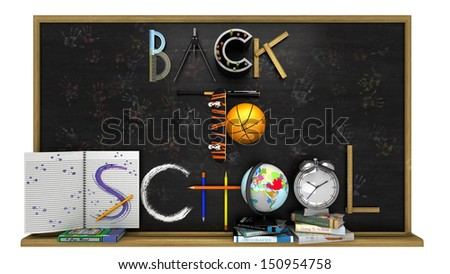 Back to school poster with text on chalkboard,sports and education elements - stock photo
