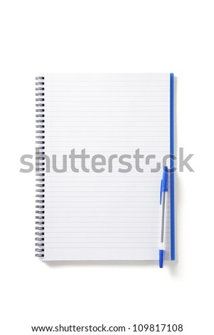 Back to School pupils note pad and pen on white school desk from above - stock photo