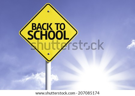 Back to School road sign with sun background  - stock photo