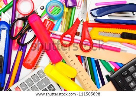 Back to school. School accessories . - stock photo