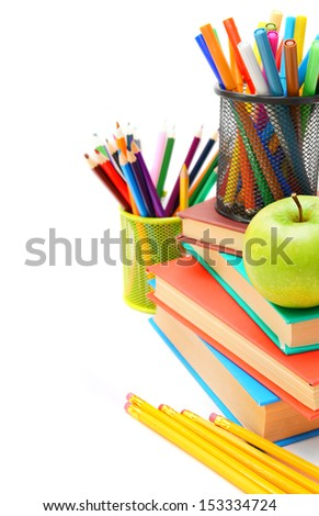 Back to school. School accessories on a white background. - stock photo