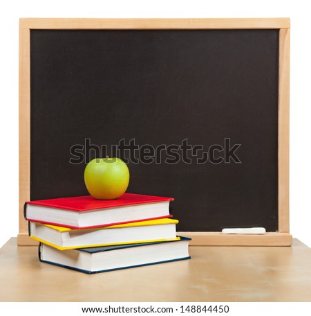 Back to school. School board and books and apple isolated - stock photo