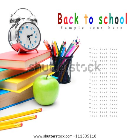 Back to school . School tools . On white background. - stock photo