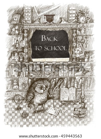 Back to school. Scientific owl among symbols of knowledge. Pencil drawing in a vintage retro style on science and education