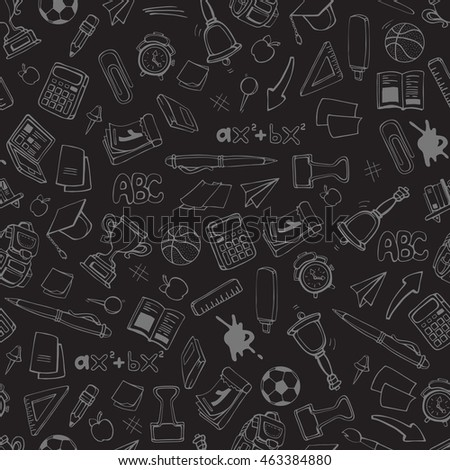Back to School.  seamless pattern with school elements isolate on dark background. Linear stile