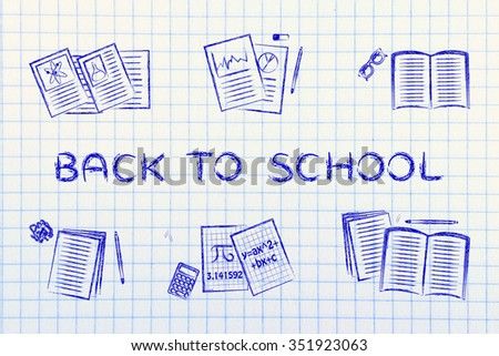 Back to school: set of  books and textbooks, flat chalk outline illustration