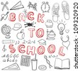 Back to school - set of school related doodle objects isolated on white - stock vector