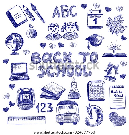Back to School. Set Sketchy doodles with Lettering and Hand Drawing school items. Doodle Illustration Design Elements