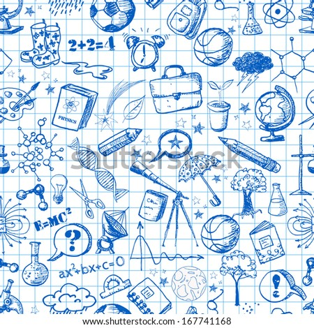 Back to school - sketch seamless background. Can be used for wallpaper, pattern fills, textile, web page background, surface textures. - stock photo