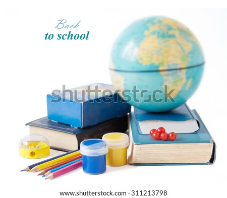 Back to school. Still life with books, map, sharpener and globe isolated on white background - stock photo