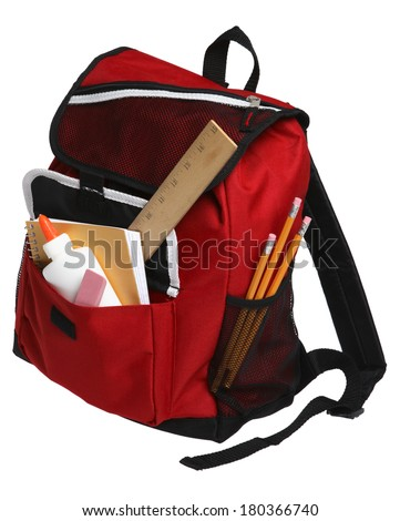Back to School still life with red backpack and school supplies on white - stock photo