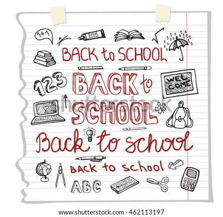Back to School Supplies.Doodles Sketchy Notebook  with Lettering and Hand Drawing icons. Illustration Design Elements on Lined Sketchbook Paper Background.Teachers day