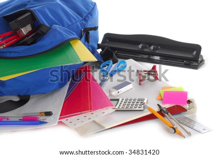 Back to school supplies studio isolated on white background - stock photo