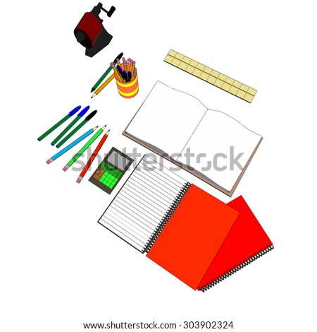 Back to school supplies, studying supplies, research, learning