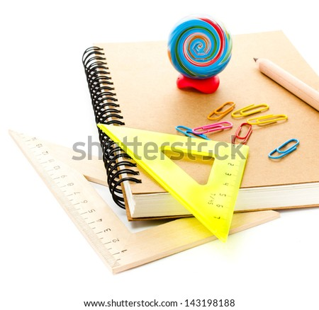 Back to school supplies with notebook. Schoolchild and student studies accessories. - stock photo