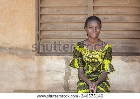 Back To School Symbol - Pretty Black African Schoolgirl Posing - stock photo