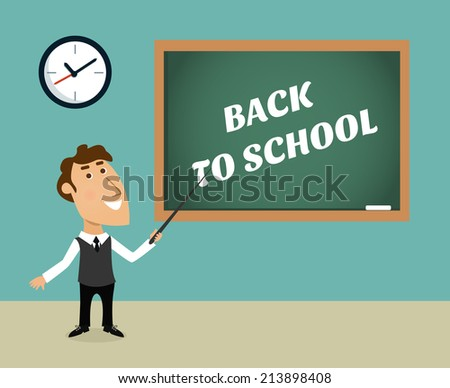 Back to school teacher pointing on blackboard scene  illustration - stock photo