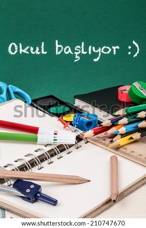 "Back to school template in Turkish. (it says ""school starts"".) - stock photo"