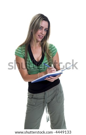 back to school theme of young woman with books