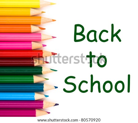 Back to school with pencil crayons border isolated on white, a school background