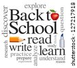 Back to School Word Cloud. Read, write, learn, discover, explore, study, practice. Big red apple for the teacher. Isolated on white background. For education, literacy, scrapbook projects.  - stock photo