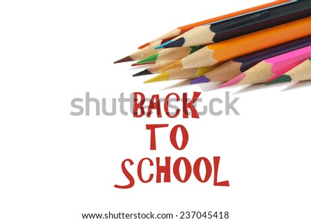 Back to school wording with color pencil - stock photo