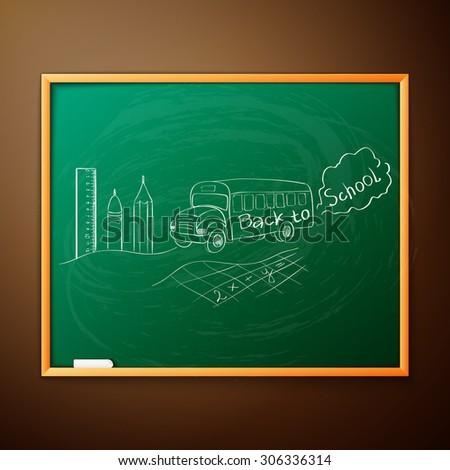 Back to school, written on blackboard with chalk,  - stock photo
