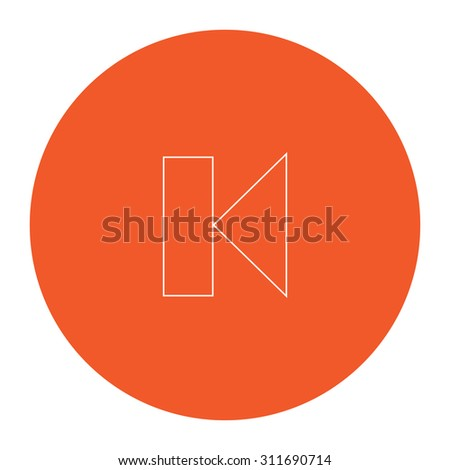 Back Track arrow Media player control button. Flat white symbol in the orange circle. Outline illustration icon - stock photo