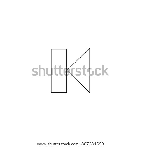 Back Track arrow Media player control button. Outline black simple symbol - stock photo