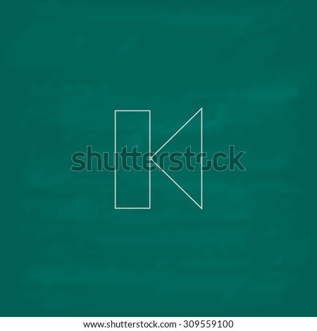 Back Track arrow Media player control button. Outline icon. Imitation draw with white chalk on green chalkboard. Flat Pictogram and School board background. Illustration symbol - stock photo
