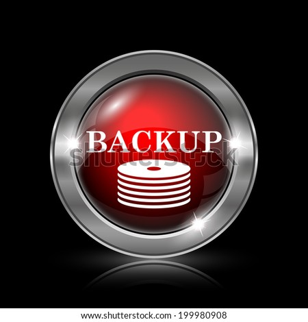 Back-up icon. Metallic internet button on black background.
