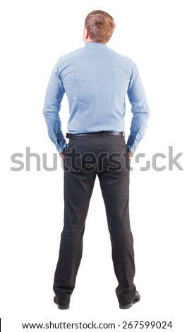 back view business man  in red shirt looks ahead. Young businessman watching.     backside view of person.  Isolated over white background. office worker with a sports figure looks away - stock photo