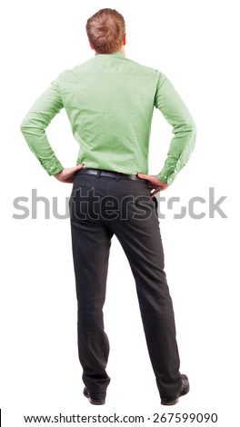 back view Business man  looks ahead. Young guy in pink shirt watching. Rear view people collection. Isolated over white background. broad-office worker put his hands on his hips thoughtfully reflects - stock photo