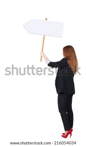 Back view business woman showing sign board. young redhead girl holds information plate. Rear view people collection. backside view of person. Isolated over white background