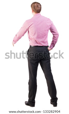 back view businessman out to shake hands. Rear view people collection. backside view of person. manager extends his hand in greeting. Isolated over white background. cocky office worker greets someone - stock photo
