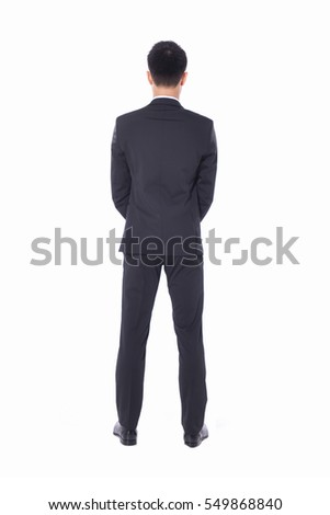 Back view Full body young businessman standing on white background