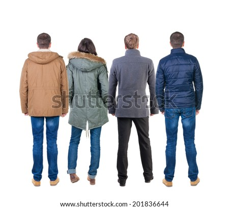 Back view group of people in jacket. Rear view team people collection.  backside view of person.  Isolated over white background. - stock photo