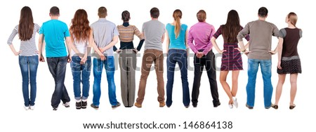 Back view group of people  looking. Rear view team people collection.  backside view of person.  Isolated over white background. - stock photo