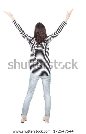 Back view joyful woman celebrating victory hands up. Rear view people collection. backside view person. Isolated over white background. slender brunette in jeans shows symbol success or hitchhiking - stock photo