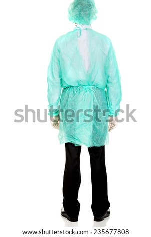 Back view male doctor wearing protective clothes. - stock photo