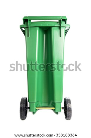 Back View of a Compost and Recycle Green Bin Isolated on White