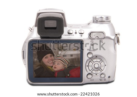 Back view of a digital camera that shows a mom & her child in viewfinder (clipping mask included)